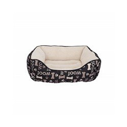Dogit Dog Rect. Cuddle Bed, Woof-Black