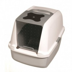 Cat Hooded Cat Litter Pan,Grey & White-V