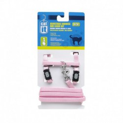 CA Aj. Harness and Leash Set. Pink, S-V