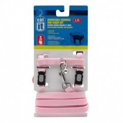 CA Aj. Harness and Leash Set. Pink, L-V