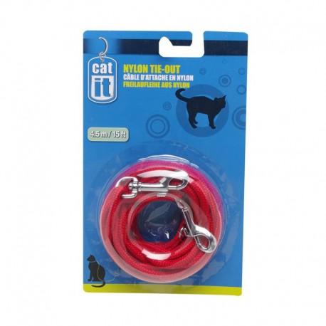 Câble d attache Catit/nylon, 3m,rouge-V