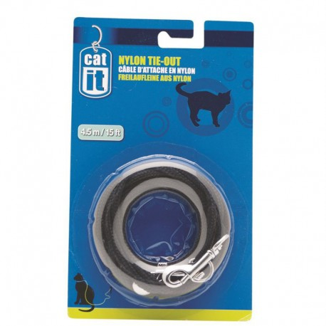 Câble d attache Catit/nylon, 4,5m,noir-V