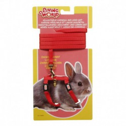 LW Dwarf Rabbit Harness & Lead Set,Red-V