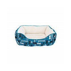 Dogit Dog Rect. Cuddle Bed, Woof- Blue