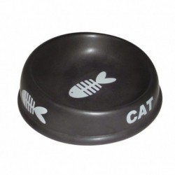 PS Black Ceramic Cat Bowl 5in fishbone