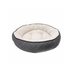 Dogit Dog Round Cuddle Bed, Grey-White