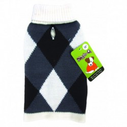 DQ Argyle Wht Gry Blk Turtleneck 18in