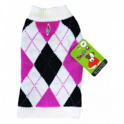 DQ Argyle White Pink and Black 20in