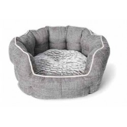 BUD Z CHIEN LIT ROND REBORDS ELEVES DELUXE 17,5 X 15,5 GRI