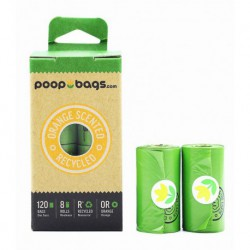 POOPBAGS SACS DE RAMASSAGE ODEUR D ORANGE (8 ROULEAUX DE 15