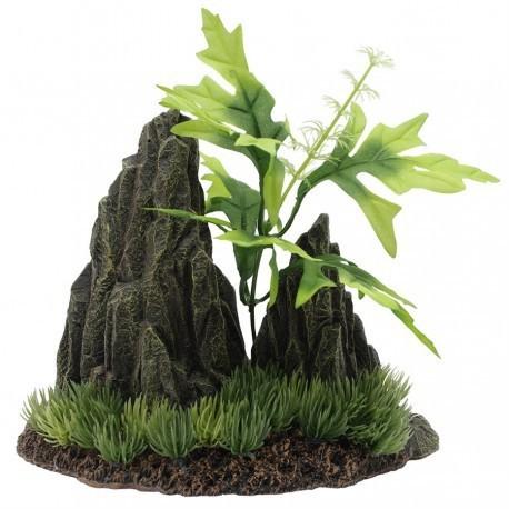 MA Dble Rock Cropw/Plants-19x10.5x16cm