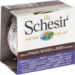 SCHESIR CAT CHICKEN & BEEF FILLETS, RICE, NATURAL 85g