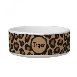 PS Leopard Print Ceramic Dog Bowl 6.5in  Food And Water Bowls