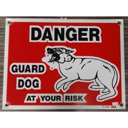 """PANCARTE LARGE """"Danger guard dog (at your risk)"""""""