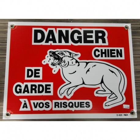 PANCARTE LARGE Danger chien garde (à vos risques)