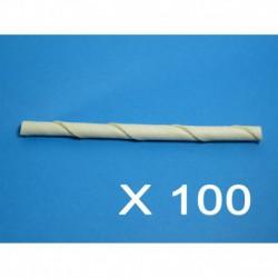 Cuir-Batonnets twist blanc 5   x 9/10mm (100 unité