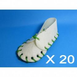 Cuir-Souliers blanc 5   (Lacets couleur) (20 unité