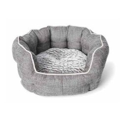 BUD Z CHIEN LIT ROND REBORDS ELEVES DELUXE 22,5 X 20,5 GRI