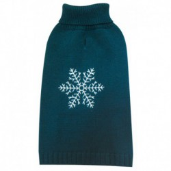 DQ Embroidered Snowflake Prussian Blue 20in