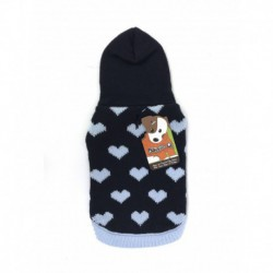 DQ Navy Hearts Hooded Sweater - 12in
