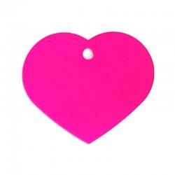 Médaille cœur large rose
