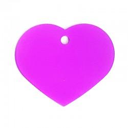 Médaille cœur large mauve pâle