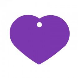 Médaille cœur large mauve