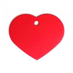Médaille cœur large rouge