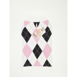 DQ Argyle White Pink and Black 14in